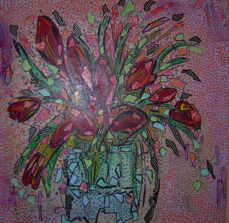 Tulipes rouges dans un vase bleu 50x50cm Vendu