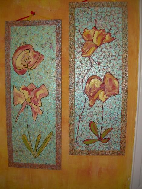 Fantaisie Florale deux panneaux 92x34 cm