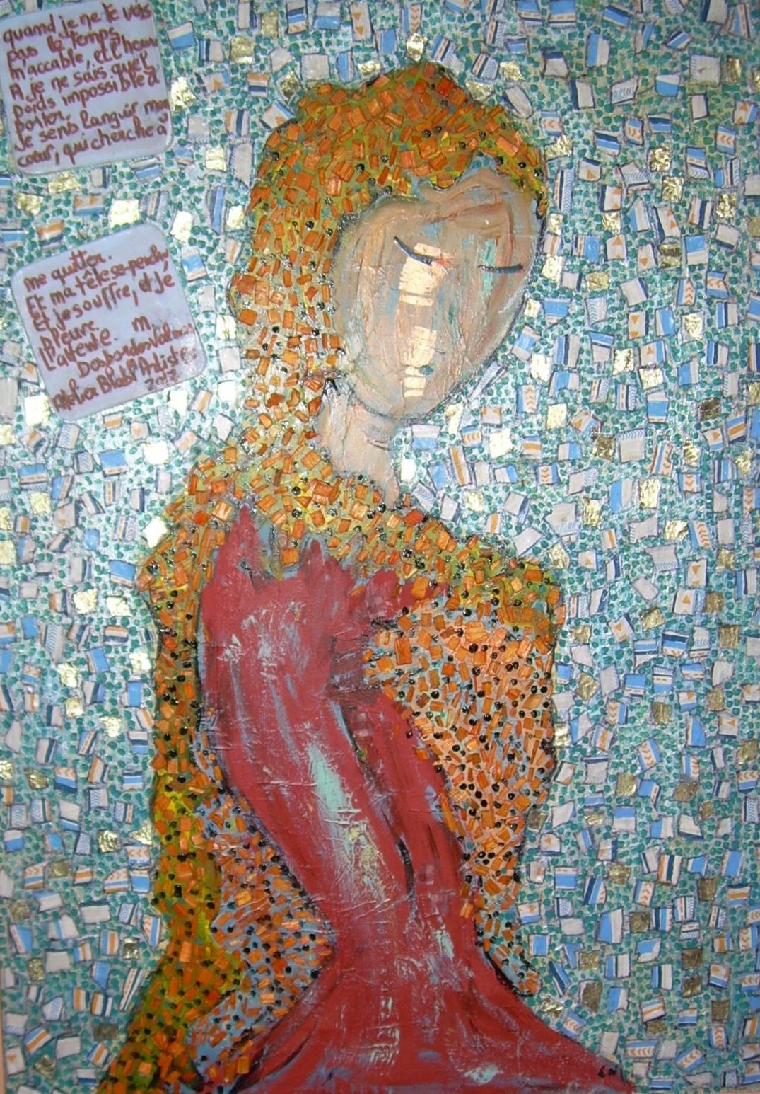 50x70cm L'attente poème Marceline Desbordes Valmore