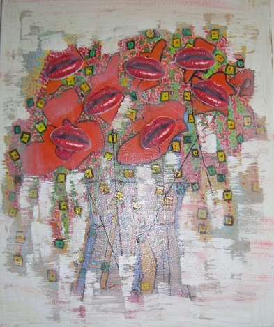 Bouquet de lèvres 40x50cm Vendu