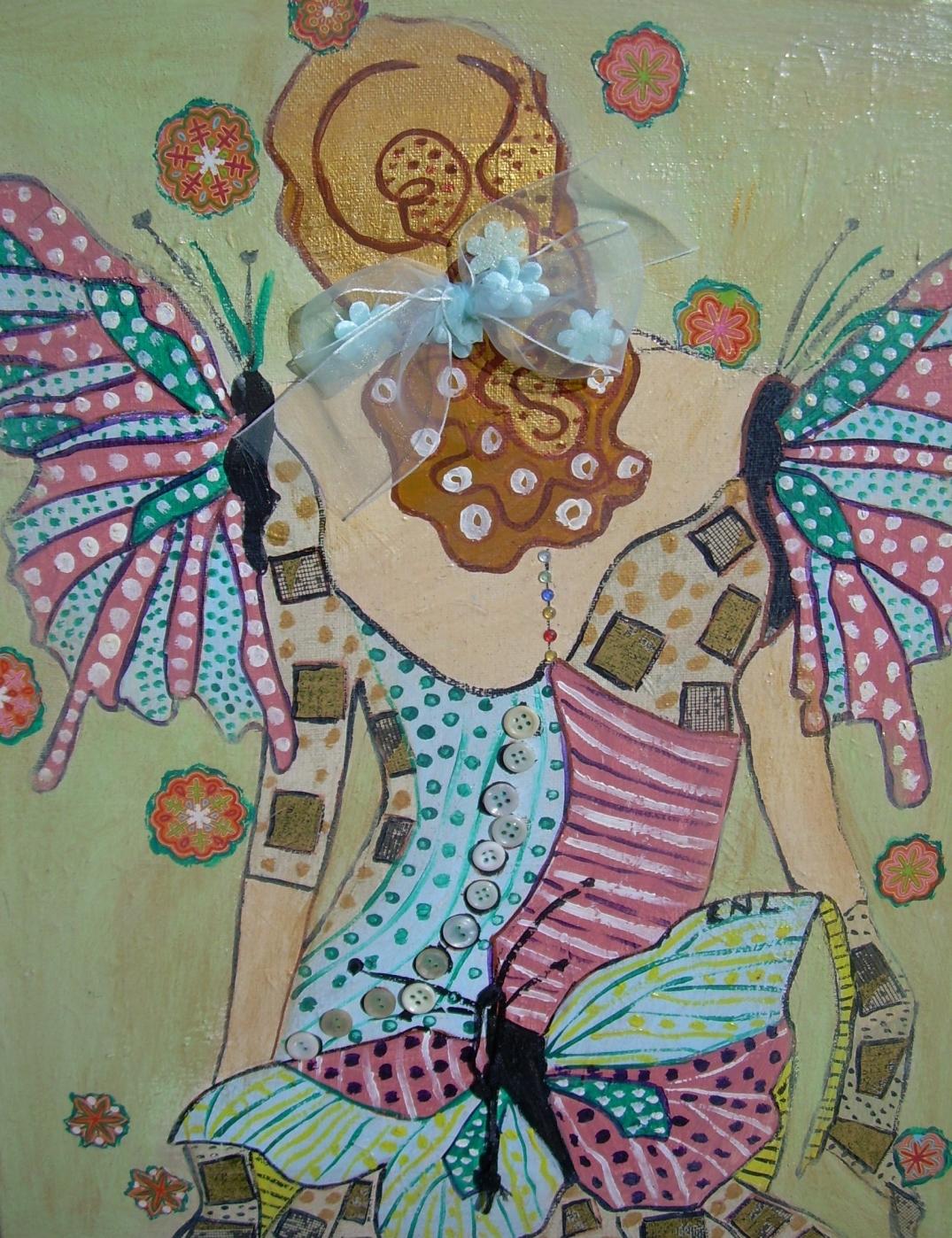 Fée-Papillon 35x50cm CNLacrylique et collage Vendu
