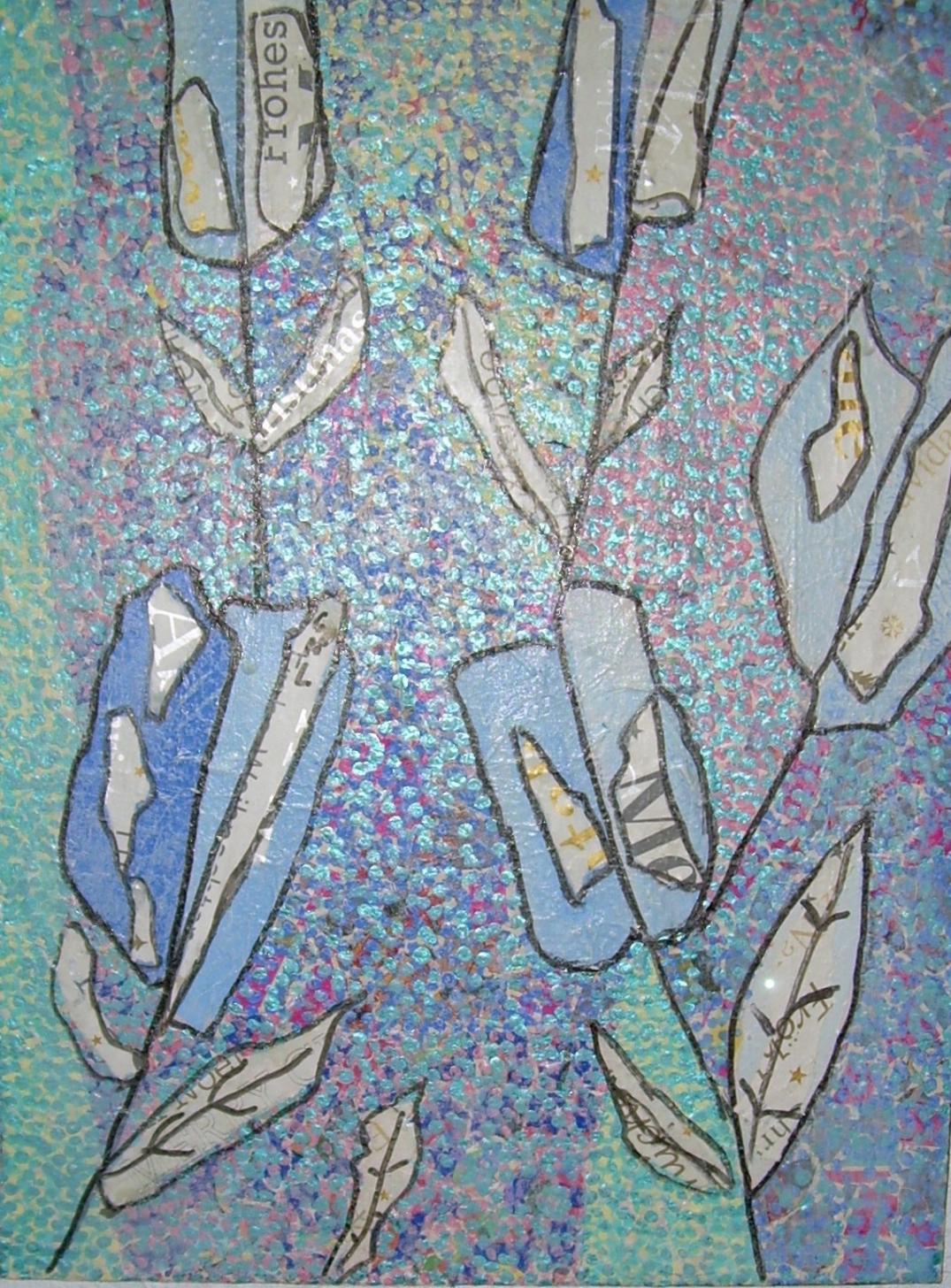 fleur bleue30x40cm