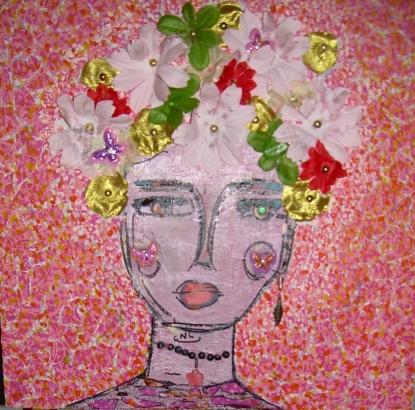 40x40cm Viva la Vida ! (d'après Frida Kahlo)