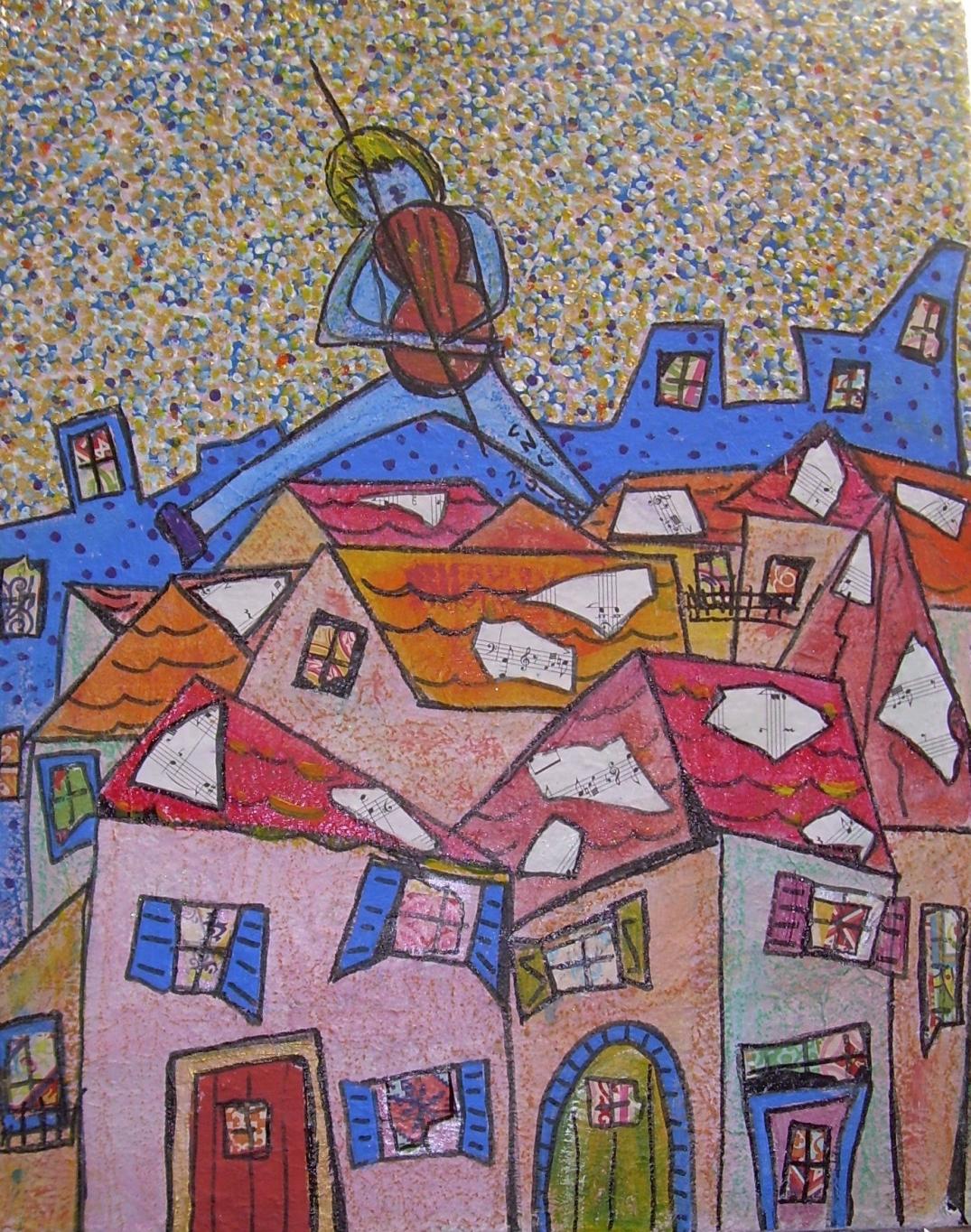 40x50cm Le violon sur le toit (d'après Marc Chagall)