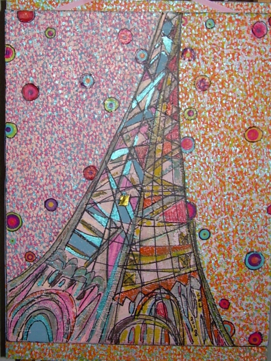 47x57cm Regard d'enfant sur la Tour Eiffel (d'après Robert Delaunay)