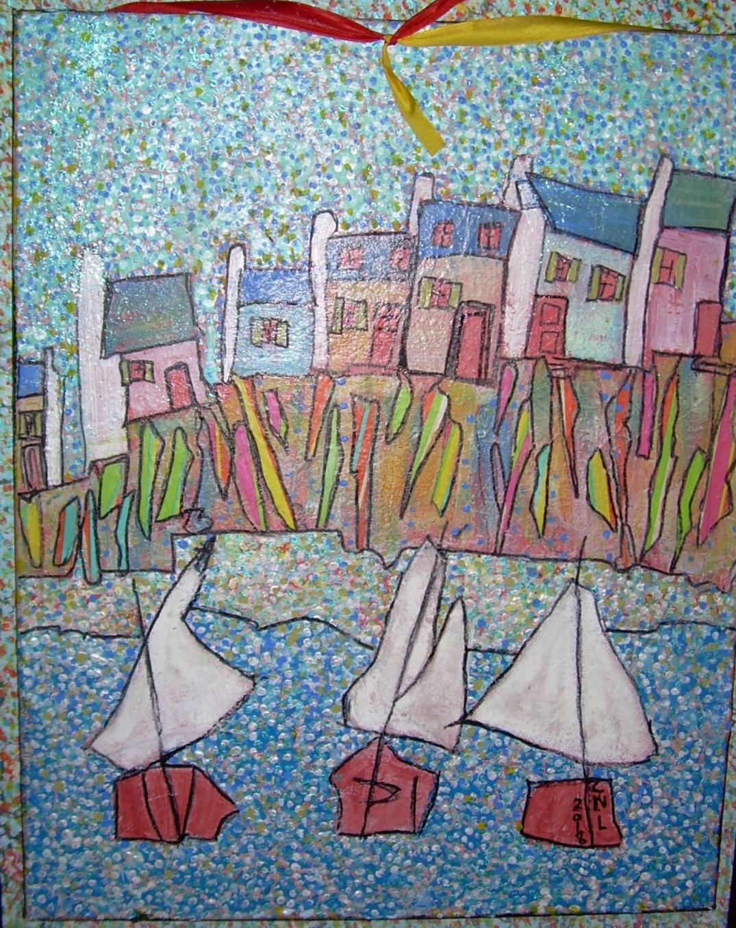 57x48cm Mon petit port breton