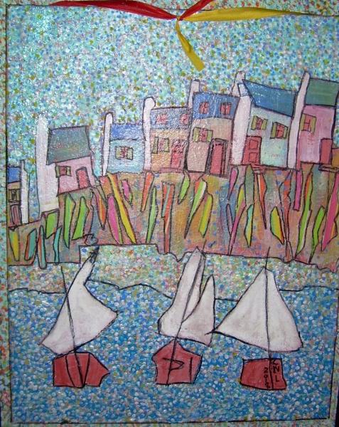 57x48cm Mon petit port breton (Hommage à tous les petits peintres bretons)