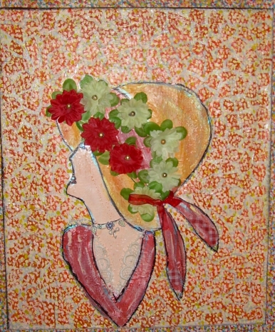 58x47cm Portrait de Ninon au chapeau fleuri