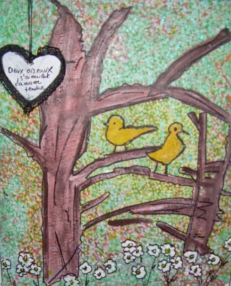 37x55cm Deux oiseaux s'aiment d'amour tendre