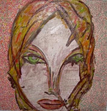 50x50cm Les yeux verts (d'après l'Afghane aux yeux verts)
