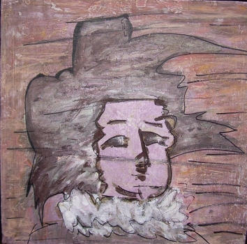 50x50cm L'homme à la collerette d'après Rembrandt)