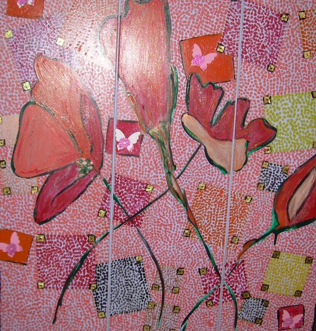 90x90cm Floral (sur panneau bois) Vendu
