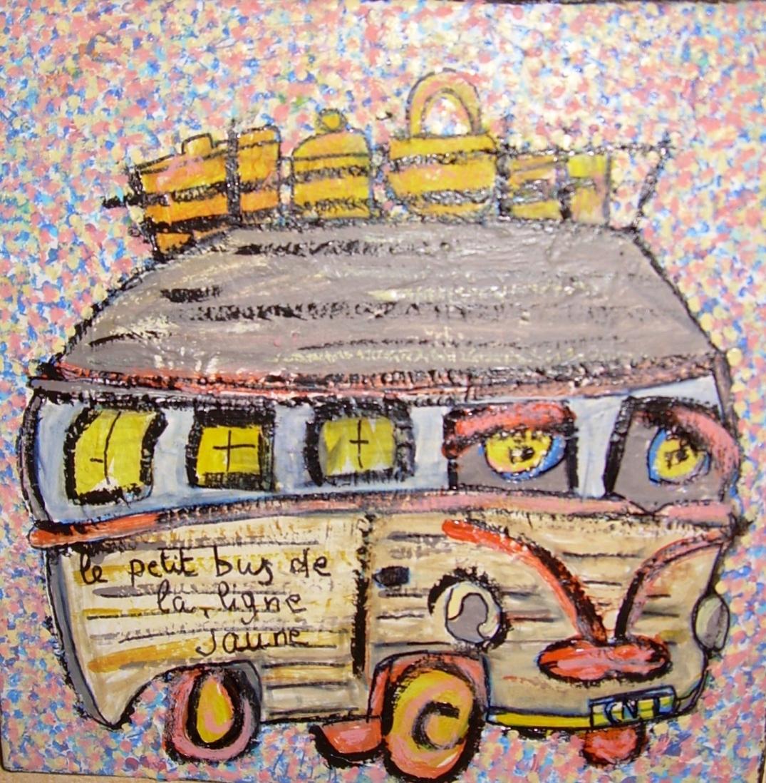 30x30cm le petit bus de la ligne jaune