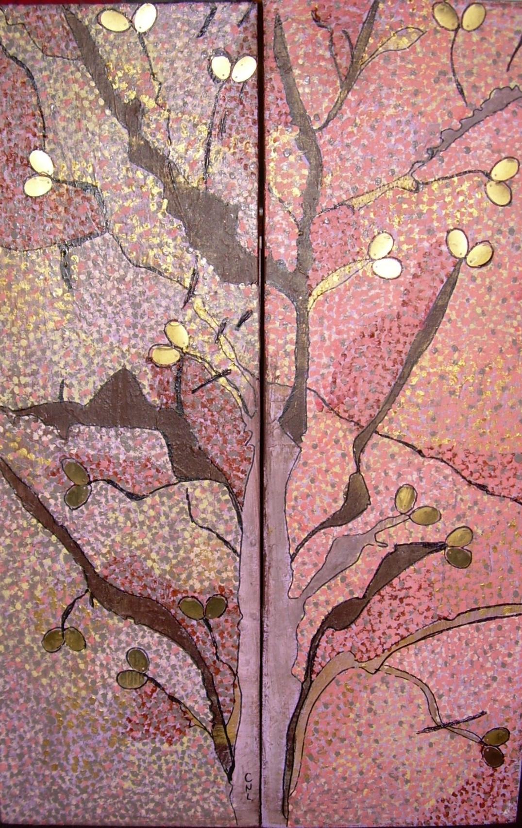 diptyque 40x60cm l'arbre aux fruits d'or