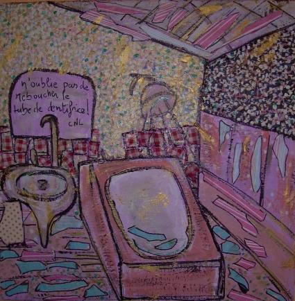 40x40cm Petits matins dans la salle de bain
