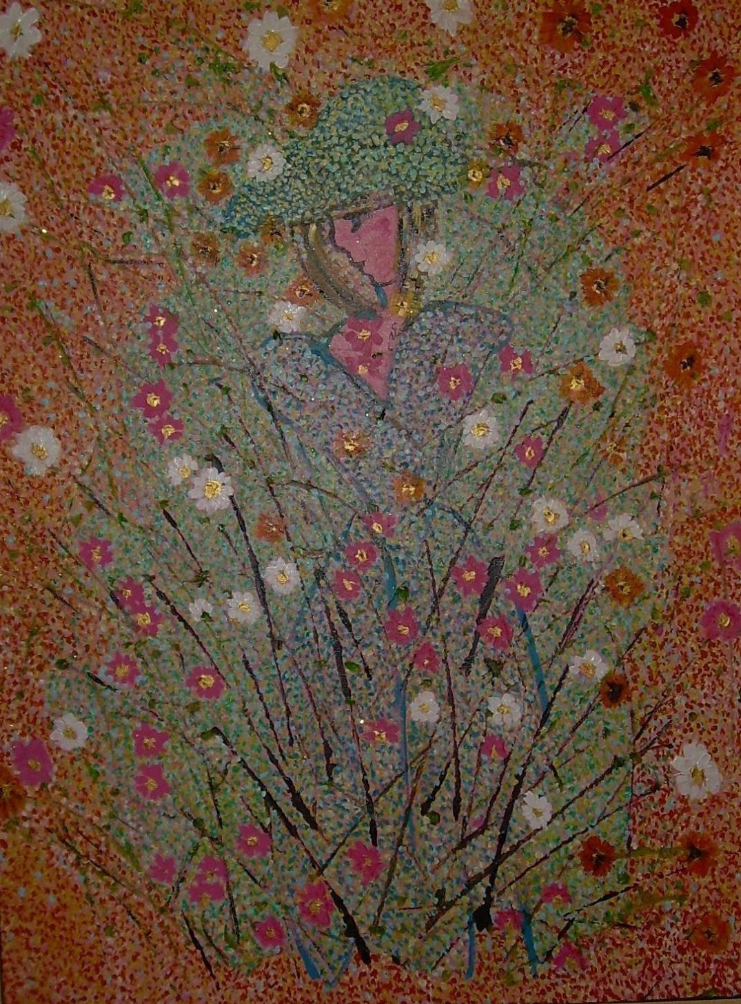 60x80cm Parmi les fleurs, collection privée