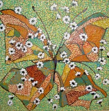 40x40cm Patchwork de papillon