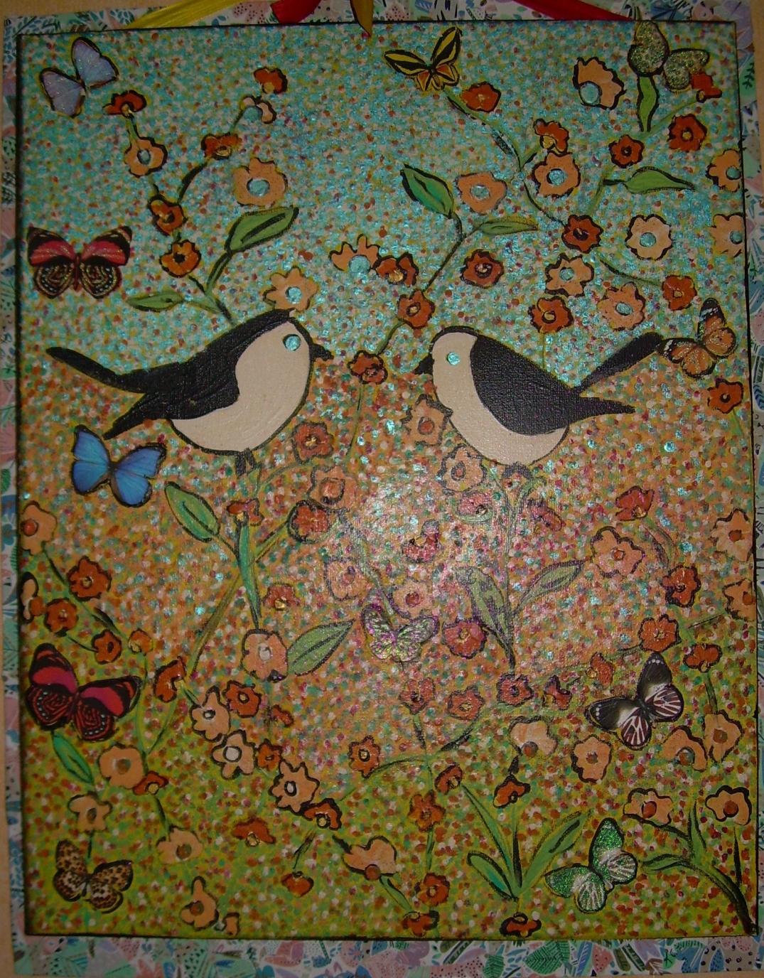 48x57cm Rencontres dans un jardin fleuri