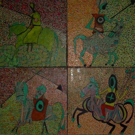 Quadriptyque 80x80cm Les quatre cavaliers de l'apocalypse