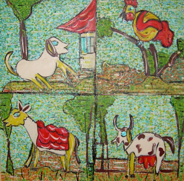 50x50cm les animaux de la ferme